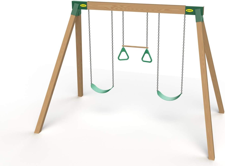 Green Set of 2 Steel Swing Braces /& Hardware /& Instructions Safe-Kidz/™ Wooden Swing Set Brackets