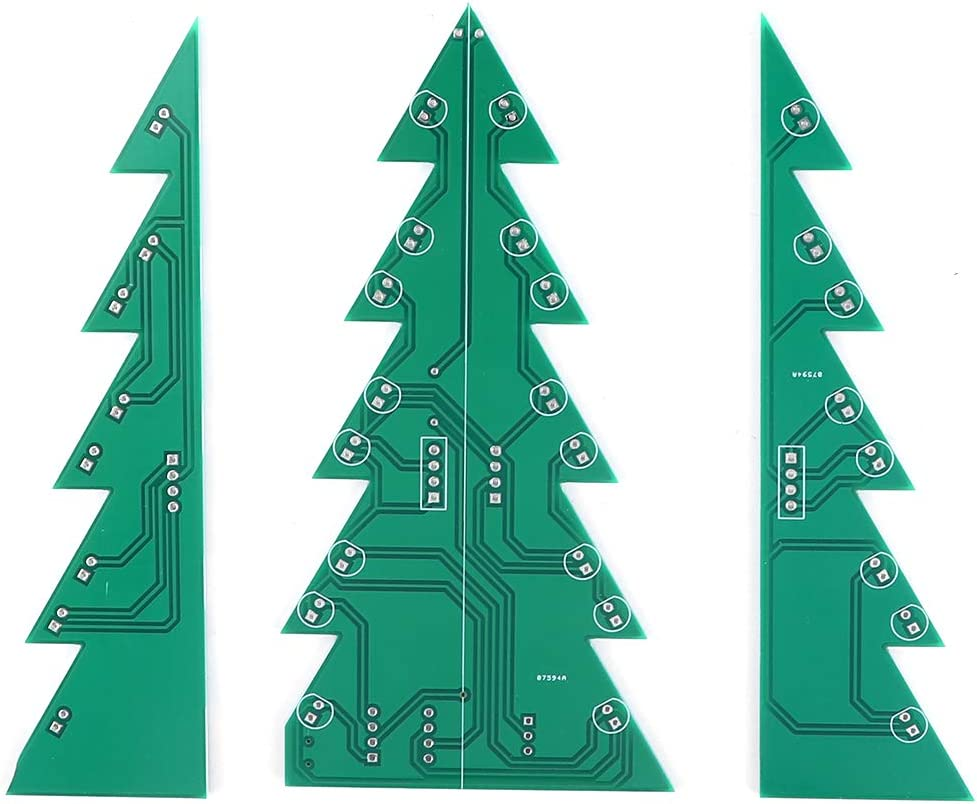 BWLZSP Kit de Circuito LED de Navidad Módulo de Placa de Circuito Impreso Tridimensional de Navidad Kit de LED de árbol de Navidad con 3 Colores de luz