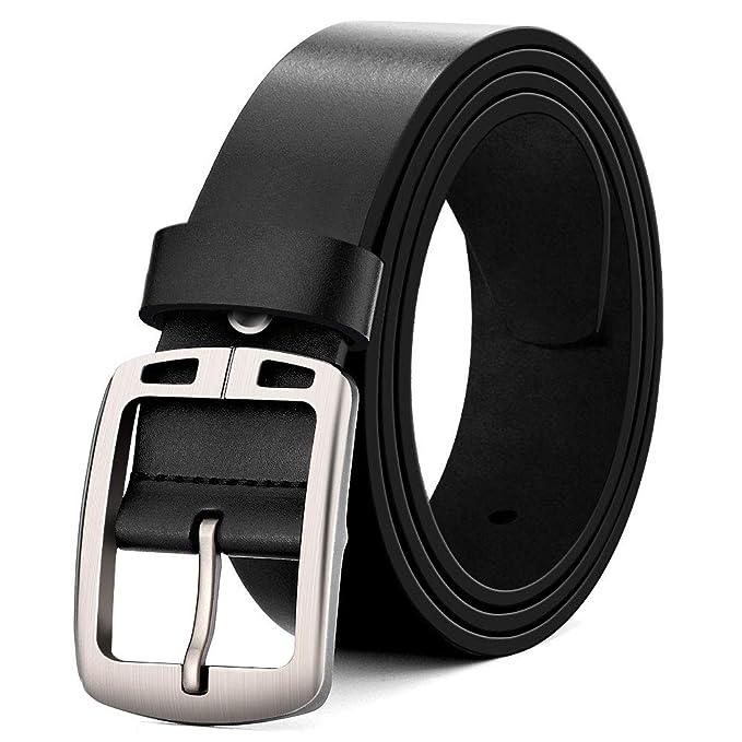 MUCO Cinturón de cuero negro marrón Hombres Hebilla Durable Cuero Cinturón  Conveniente para los pantalones vaqueros del traje Para hombres  Amazon.es   Ropa ... 5b8922871b7b