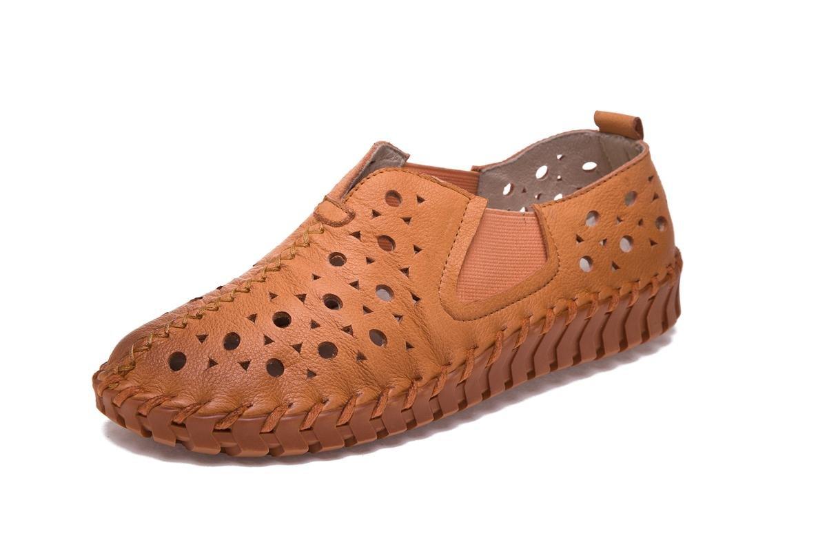 NVXIE Señoras Mujer Nuevo Ocio Moda Flats Zapatos Únicos Soft Bottom Hollow Cabeza Redonda Bombas de Cuero Genuino Fall Spring Party Work, EUR 38/UK 5.5 BROWN-EUR38UK55
