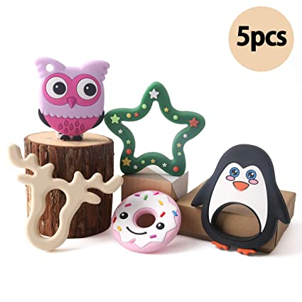 baby tete Bebé 5pcs Silicona Dentición Conjunto Elk Pingüino Animal Mordedor Juguetes para Aliviar el Dolor