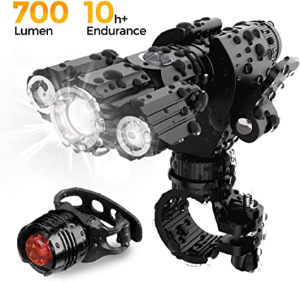 two front Q5 /& rear 3 led USB rechargeable bike lights set kit alloy zoom lamps