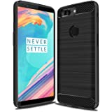 "Oneplus 5T Case, Carbon Fiber TPU Shockproof Thin Slim Fit Heavy Duty Anti-Scratch Resistant Drop Protection Case Cover with Anti-Slip Easy Grip Brushed Texture Design for One Plus 5T 1+5T 6"" (Black)"