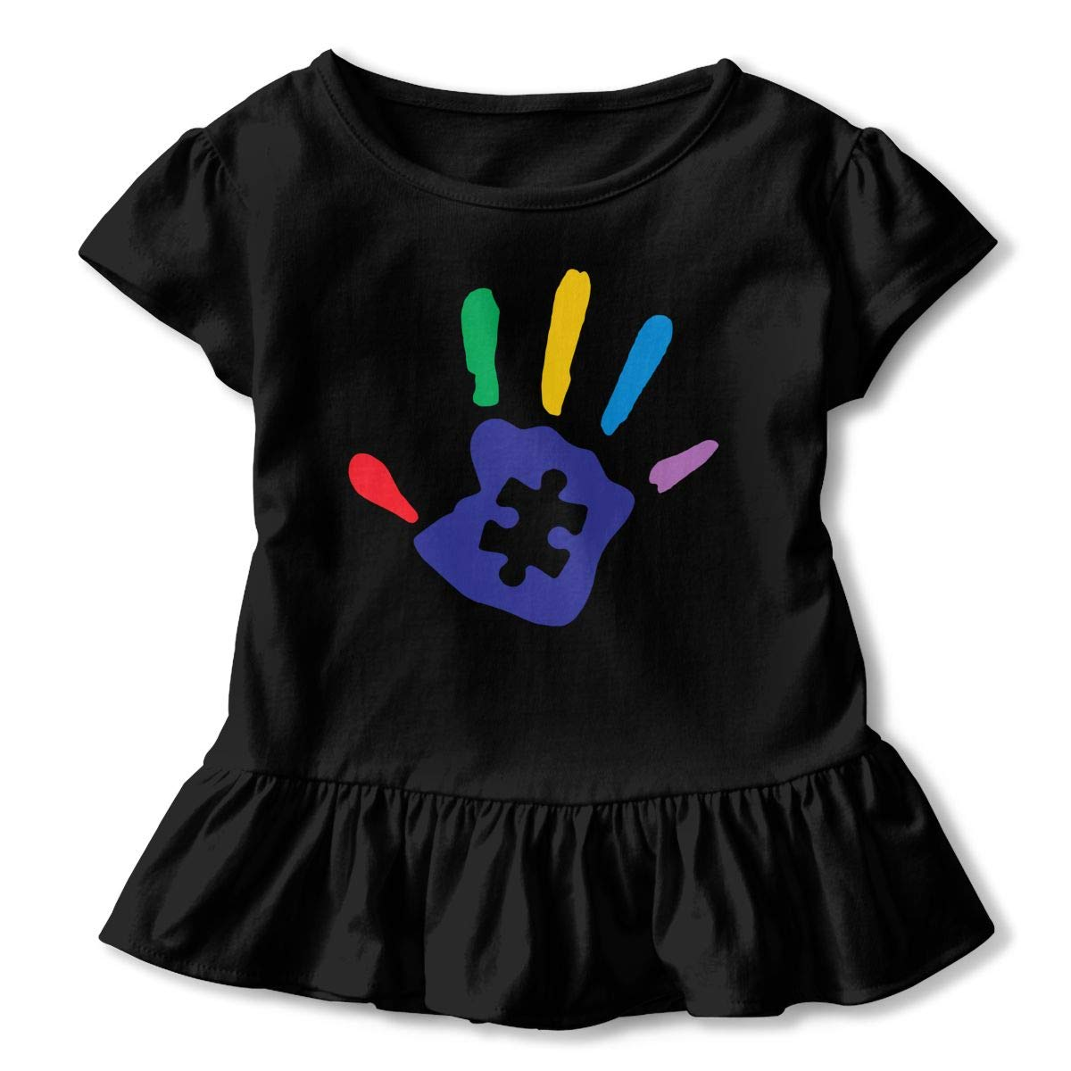 Colorful Autism Hand Childrens Girls Short Sleeve Ruffles Shirt Tee for 2-6 Toddlers