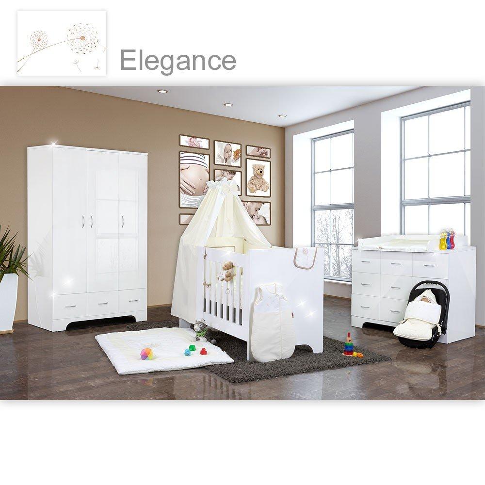 Hochglanz Babyzimmer Memi 21-tlg. mit Textilien von Elegance in Weiß
