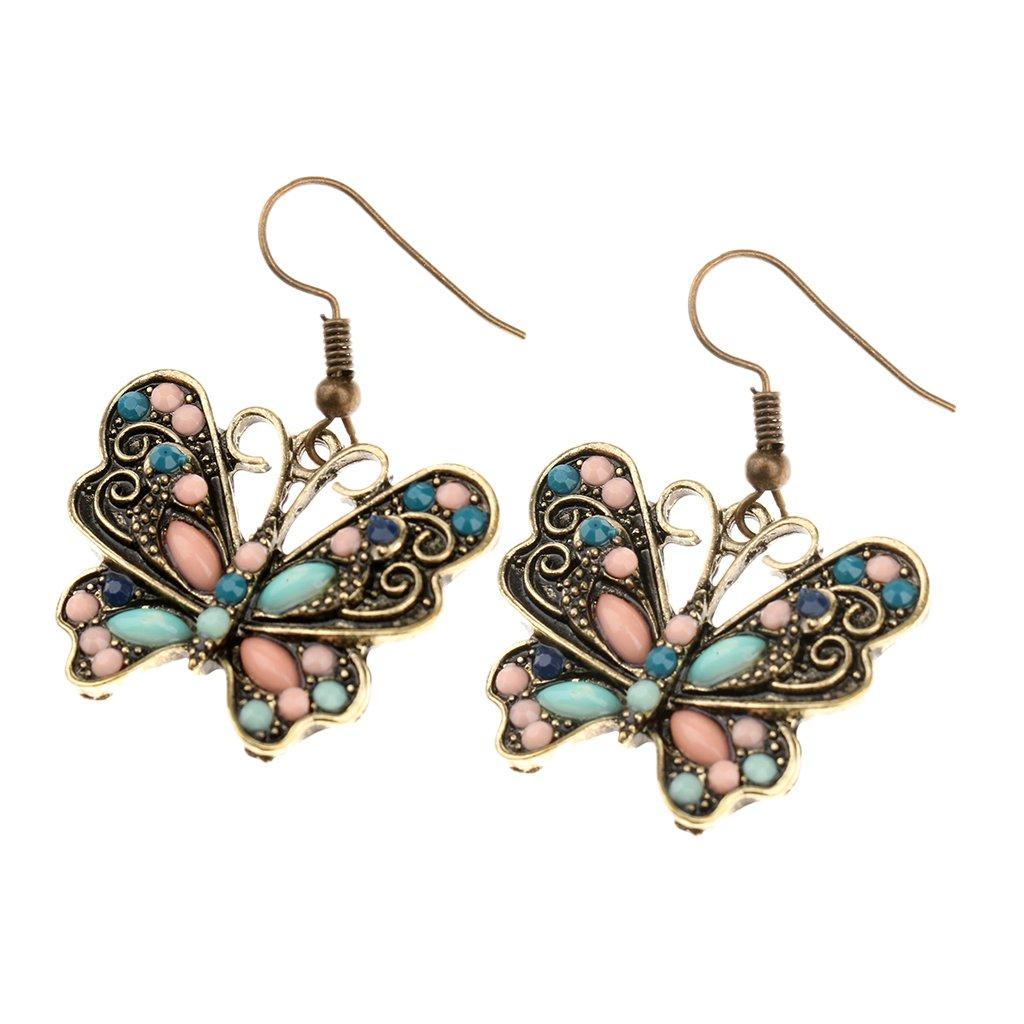 Women Fashion Jewelry Bohemia Butterfly Retro Multi-Color Dangle Earrings Generic STK0156008816
