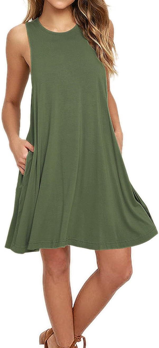 AUSELILY Damen Kurzarm Plissee Loose Swing Freizeitkleid mit Taschen Knielang