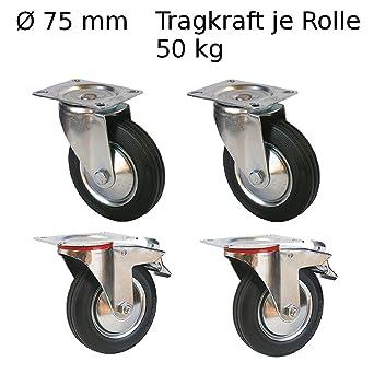 4 pieza Dirigibles, de transporte ruedas ruedas de 75 mm Muebles ruedas con freno Ruedas
