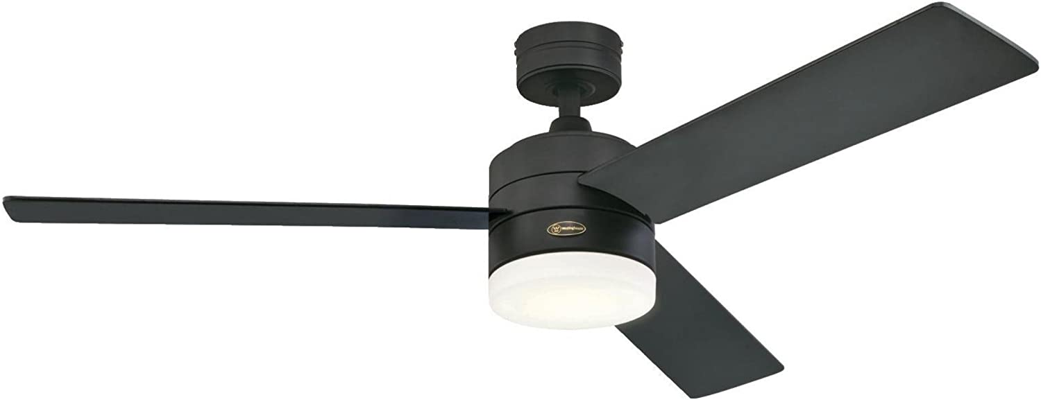 Westinghouse Lighting 7205900 Alta Vista 52-Inch Matte Black, Dimmable LED Light Kit with Opal Frosted Glass, Remote Control Included Indoor Ceiling Fan,