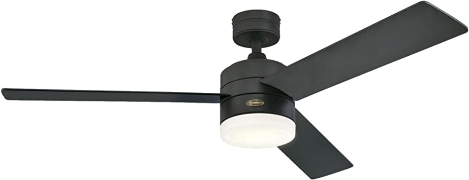 Westinghouse Lighting 7205900 Alta Vista 52 Inch Matte Black Dimmable Led Light Kit With Opal Frosted Glass Remote Control Included Indoor Ceiling Fan Home Improvement