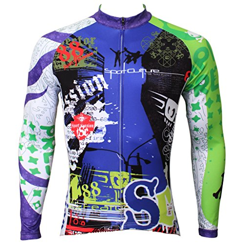 QinYing Men Patterns Breathable Long Sleeve Biking Cycling Jersey Top Green XL