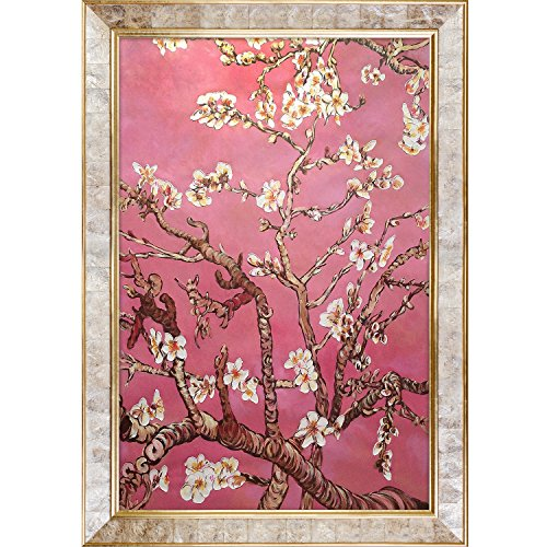 Painted Original Artwork - La Pastiche VG7007-FR-10520024X36 Almond Tree In Blossom, Pearl Pink Framed Hand Painted Original Artwork with Gold Mother Of Pearl Frame