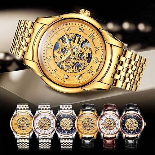 JSDUN Luxury Gold Waterproof Men Automatic Watches Stainless Steel Strap Business Mans Mechanical Watch Male Clock