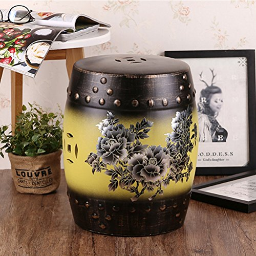 ch-AIR Stool American Country Vintage Ceramic Drum Stool Craft Porcelain Shoe Bench Home Decoration Hand-Painted Table Pier Leisure Stool Sofa Foot 28X36CM 0612A (Color : Yellow)