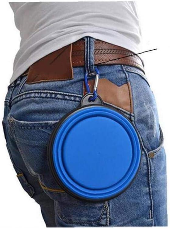 Plegable de silicona Pet Bowl del viaje del gato Perro comederos plegable Taz/ón para el perro con agujero para colgar para los suministros al aire libre que acampa yendo de viaje azul para mascotas