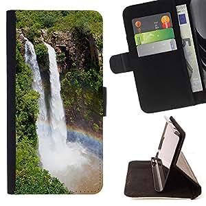 BullDog Case - FOR/Samsung Galaxy S5 V SM-G900 / - / Waterfall Niagra Falls /- Monedero de cuero de la PU Llevar cubierta de la caja con el ID Credit Card Slots Flip funda de cuer