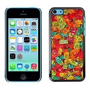 Colores Gummy Bear caramelo Dulces Alimentos - Metal de aluminio y de plástico duro Caja del teléfono - Negro - iPhone 5C