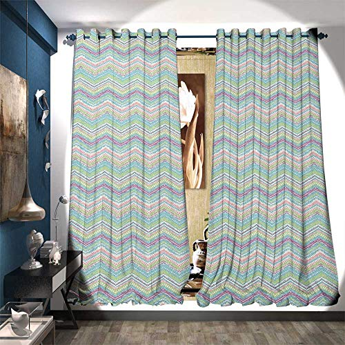(BlountDecor Patterned Drape for Glass Door Hand Painted Style Tribal Design with Zigzag Triangle Motifs Ethnic Stripe Line Drapes for Living Room W108 x L108 Multicolor )
