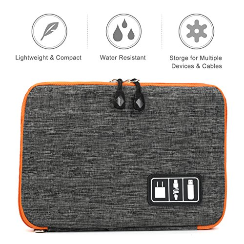 Electronics Organizer, Jelly Comb Electronic Accessories Cable Organizer Bag Waterproof Travel Cable Storage Bag for Charging Cable, Cellphone, Mini Tablet (Up to 7.9'') and More (Orange and Gray) Photo #9