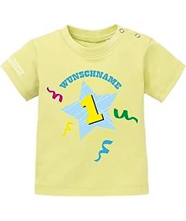 3171cd24820f2a Jayess Baby Shirt Mädchen zum 1 Geburtstag - Konfetti Stern Eins Wunschname  - personalisierbar mit Kindername