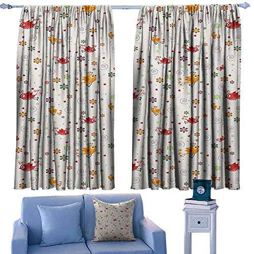 Hawaii State Bird And Flower - Nursery Decorative Curtains for Living Room Birds Swirls Flowers and Mini Hearts Nature Inspired Drawing Style Happy Animals 70%-80% Light Shading, 2 Panels,63