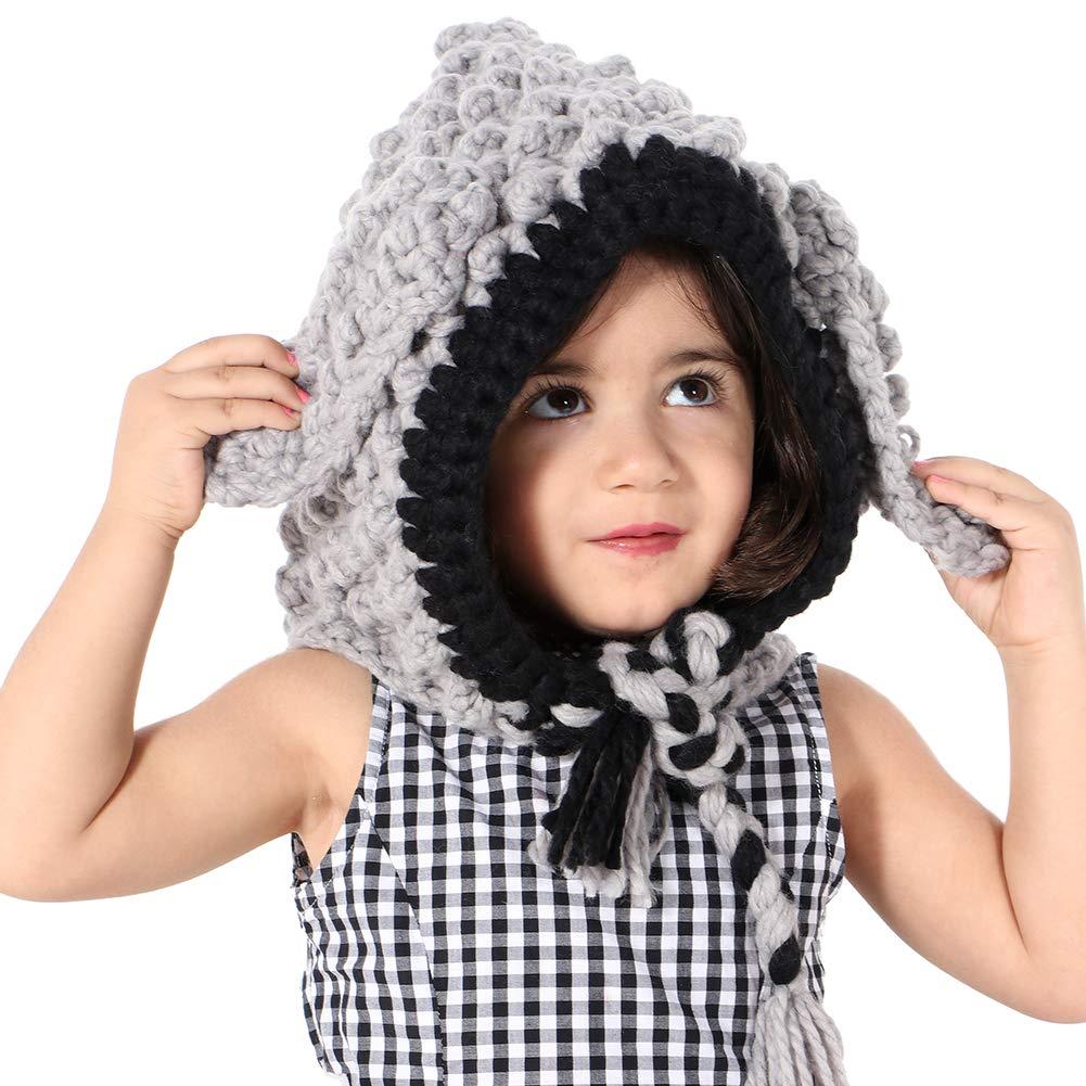 Tacobear Otoño Invierno Tejidos Animal Sombreros Bufandas Chales Cofia Capucha  Gorra Knit Bufanda con un Sombrero para Niños Niñas (Gris Conejo)   Amazon.es  ... b2d2d55d565