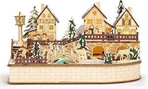 Roman, Lighted Musical Village with Rotating Train, 8
