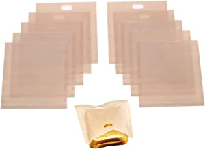 Fasunry Toaster Bags Reusable for Grilled Cheese Sandwiches, Non Stick, Easy to Clean, Gluten Free, 6.3 x 7.1 Inch, Pack of 10