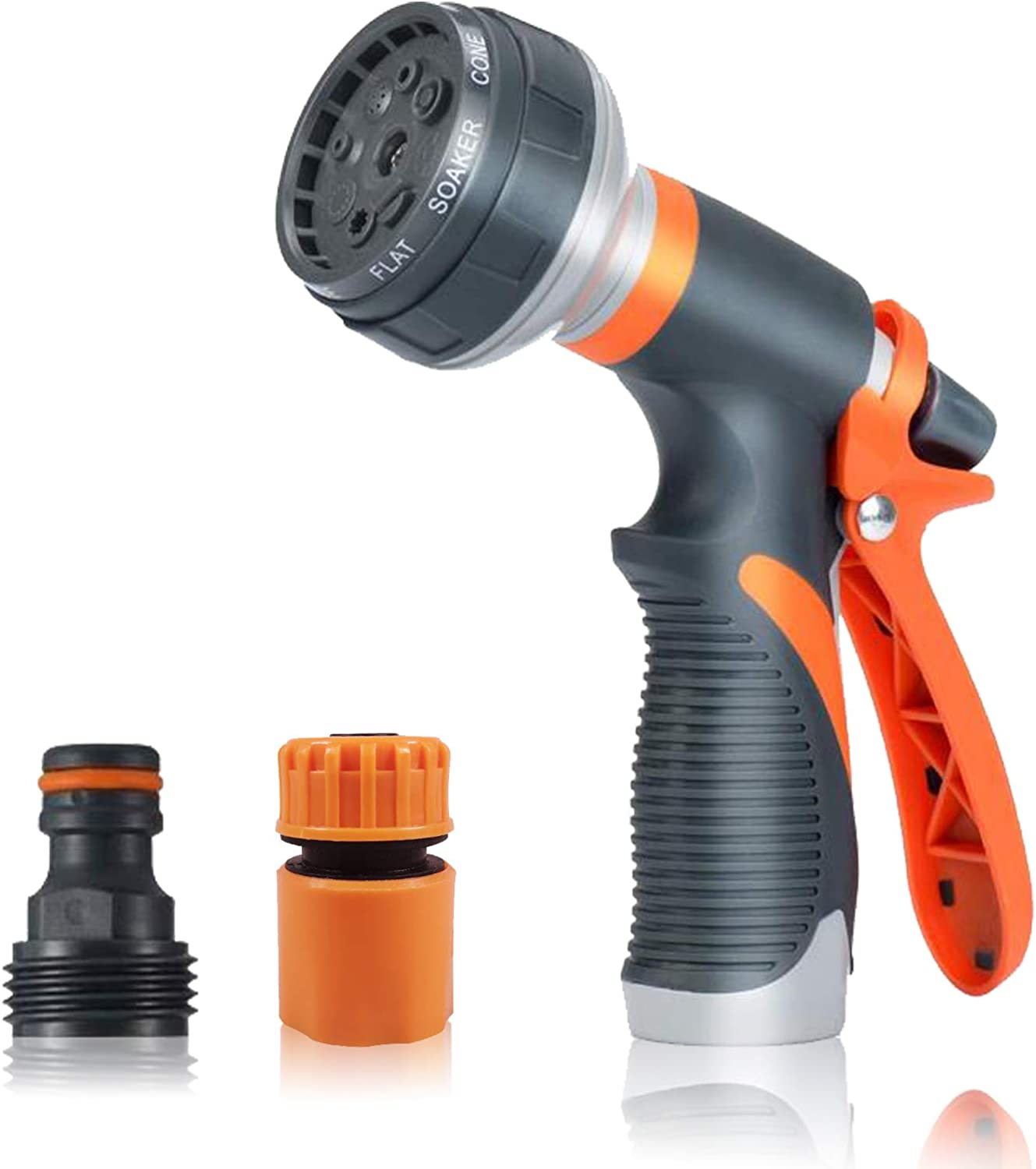 Garden Hose Nozzle,Hose Spray Nozzle,Water Hose Nozzle with 8 Adjustable Watering Patterns,Heavy Duty Hose Nozzle for Watering Plants,Cleaning,Car Wash and Showering Pets