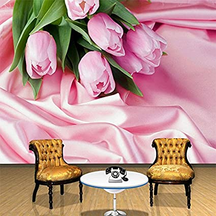 LWCX Floral 3D Romantic Tulip Pink Flower Silk Wallpaper Living Room ...