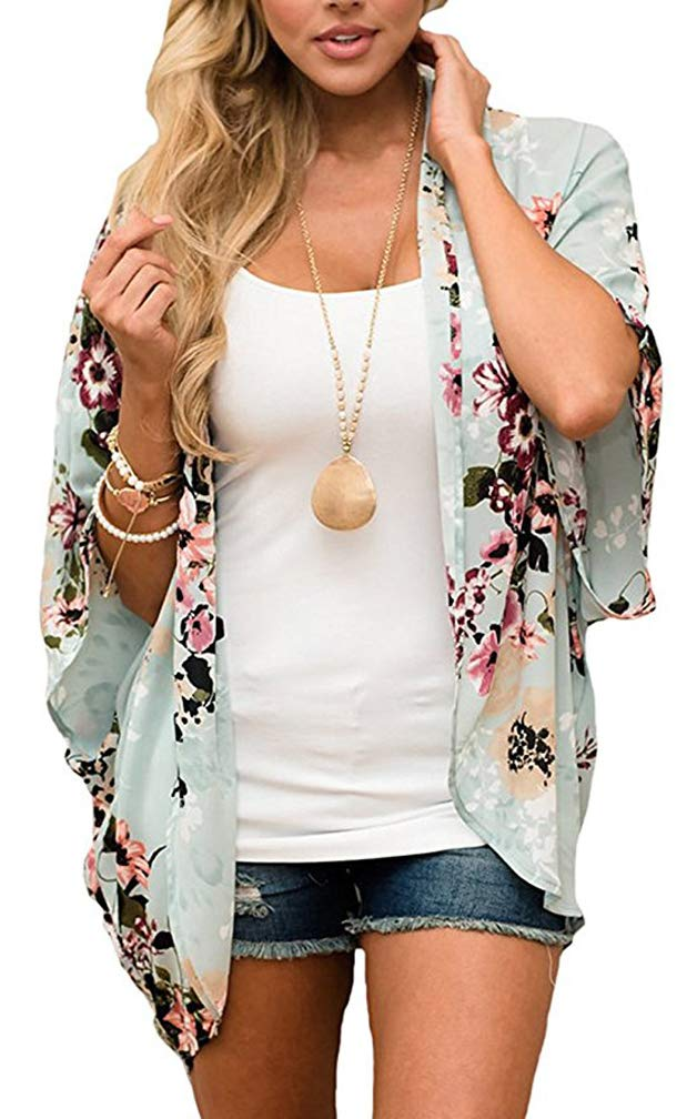 NB Women's Short Sleeve Beachwear Sheer Chiffon Kimono Cardigan Solid Casual Capes Beach Cover up Blouse (M, Mint)