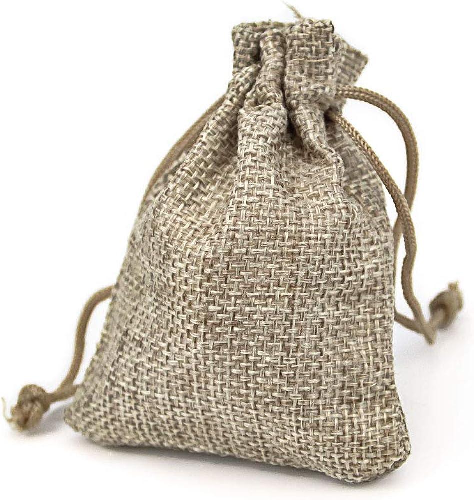 sac de No/ël bricolage communions sac cadeau en toile pour mariages RUBY mariages 100 sacs en jute de 8,5 cm x 6,5 cm pour cadeau bijoux 100pcs Naturel r/éunions