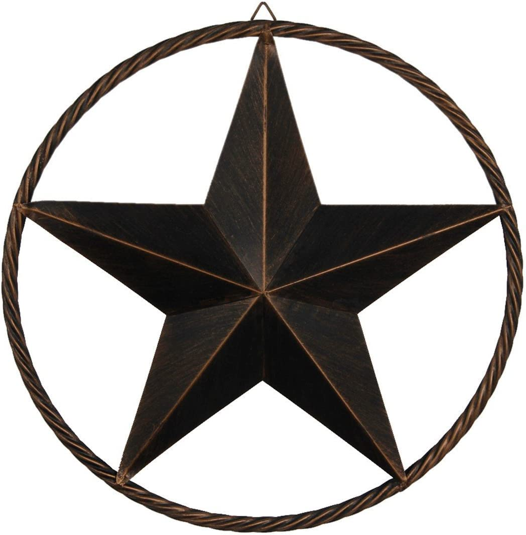 EBEI Metal Barn Star Circle Rustic Style Decorative 24 Vintage Texas Lone Star Dark Brown Western Home Decor