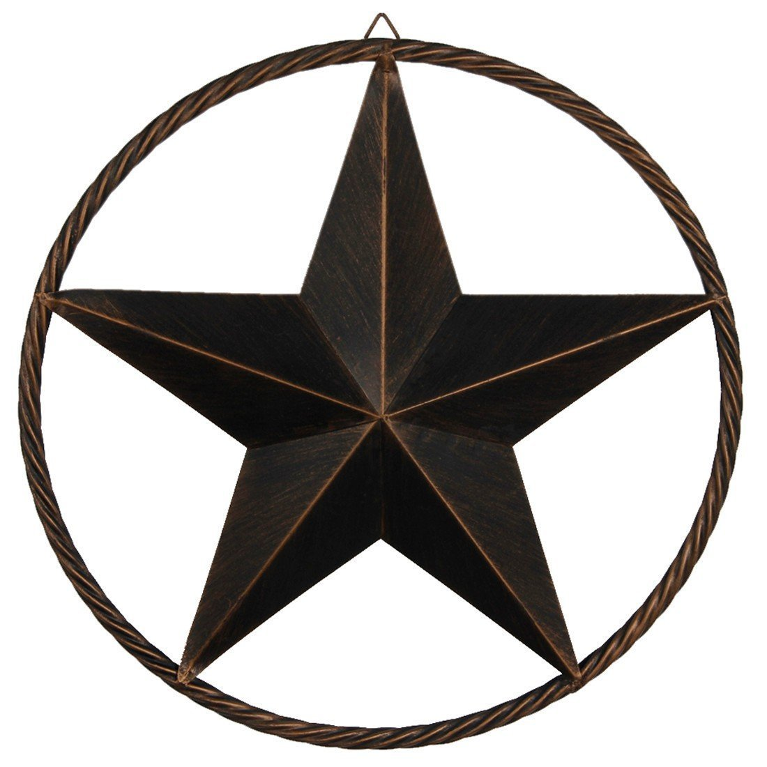 "EBEI Metal Barn Star Circle Rustic Style Decorative 24"" Vintage Texas Lone Star Dark Brown Western Home Decor"