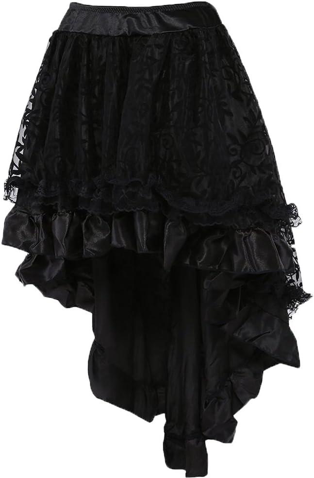 Zooma Falda gótica Negra Steampunk con múltiples Capas de Gasa ...
