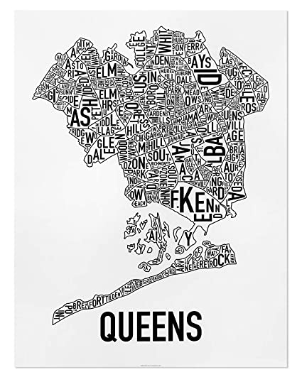 Map New York Queens Neighborhoods.Queens Neighborhoods Map Art Poster Black White 18 X 24