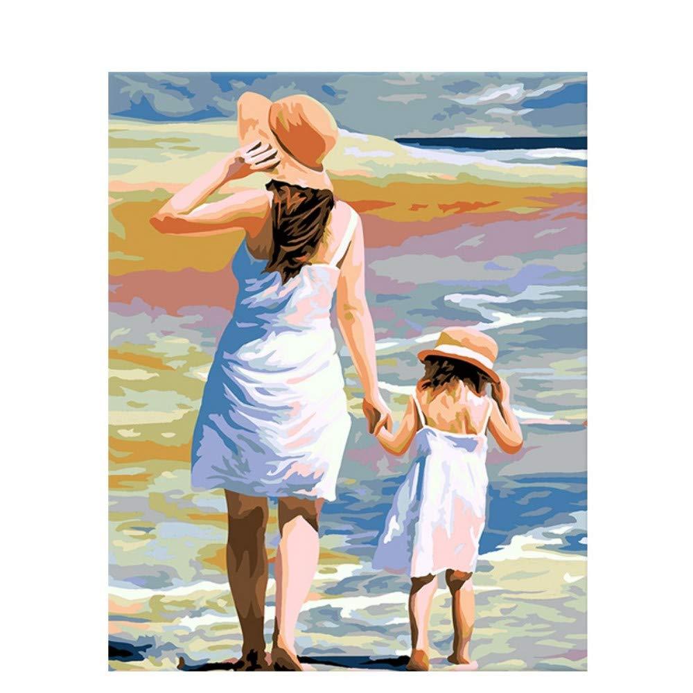 wanghan Pintura por números Mamá Amor DIY Pintura por Números Moderno Arte De La Pared Figura Pintura Pintada A Mano Pintura Acrílica para La Sala De Estar