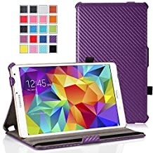 "MoKo Samsung Galaxy Tab S 8.4 Case - Slim-Fit Multi-angle Folio Cover Case with Auto Wake / Sleep and Stylus Pen Loop for Samsung Galaxy Tab S 8.4"" Tablet, Carbon Fiber PURPLE (Will NOT Fit tab pro 8.4)"