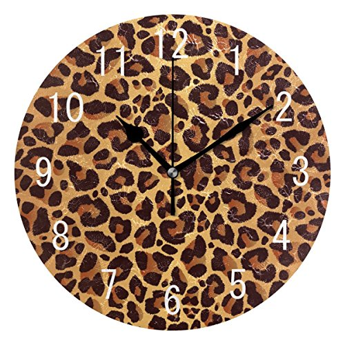 - ALAZA Home Decor Bowrn Animal Leopard Print Round Acrylic Wall Clock Non Ticking Silent Clock Art for Living Room Kitchen Bedroom