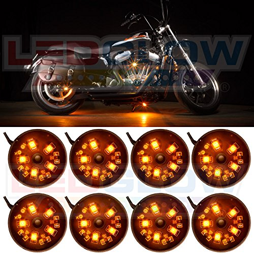 LEDGlow 8pc Orange LED Pod Lighting Kit for Motorcycles ATVs & Quads - Waterproof - Solid Color Illumination - Ultra-Bright Wide Angle SMD LEDs - Includes On/Off Power Switch