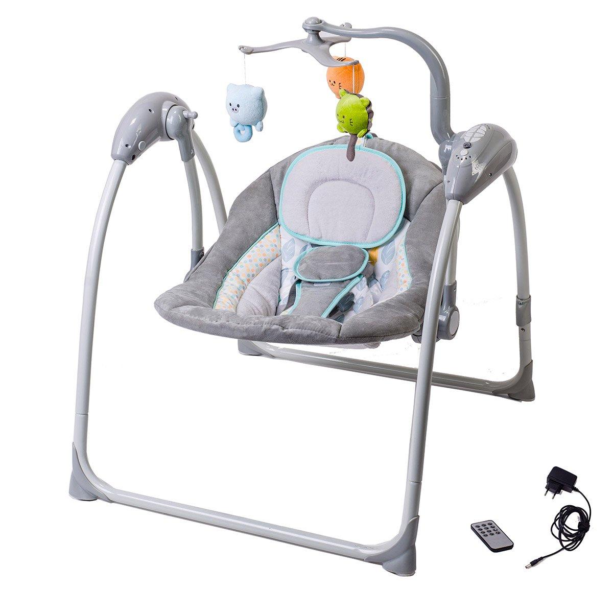 Fernbedienung, MP3-Player via USB, Netzadapter grau Elektrische Babyschaukel Automatische Baby Wiege Wippe LILOU