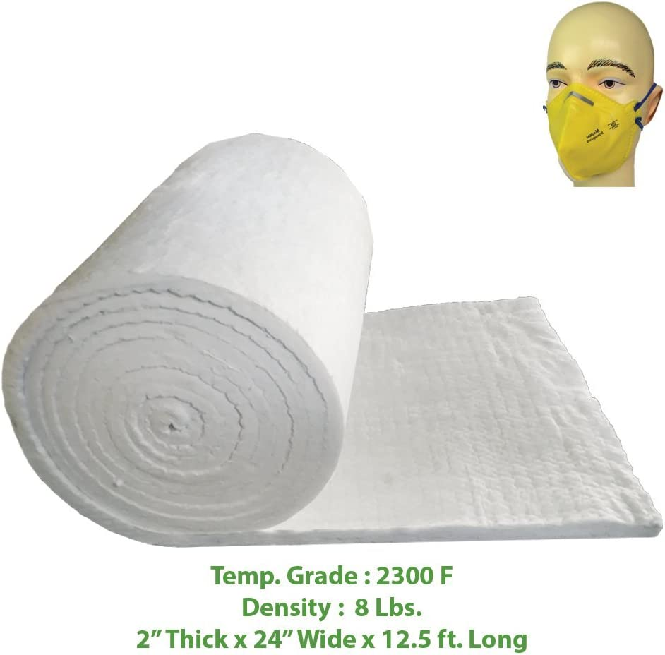 "Ceramic Fiber Blanket (2300F, 8# Density) (2"" x 24"" x 12.5') Ovens, Kilns, Furnaces, Glass Work and Chimney Insulation"