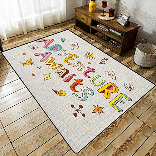 (Kids Rug,Adventure,Cartoon Style Doodle Quote with Cute Little Monsters and Animals Colorful Design,Rustic Home Decor,3'11