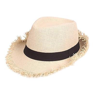 Amazon.com: Sombrero unisex de paja de playa con cuello de ...