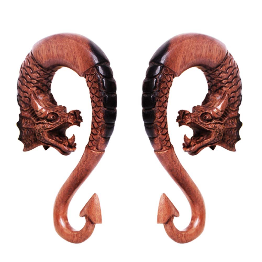 Covet Jewelry Pair of Ebony Wood Dragon Ornamental Hanging Taper with Arrow Tail (1/2'') by Covet Jewelry