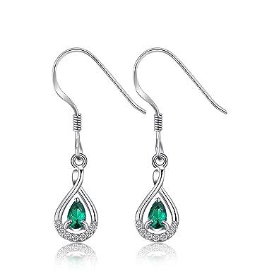 Color 925 Sapphire 5 Drop//Dangle Earrings Jewelry CZ Shiny Silver Emerald//Oval