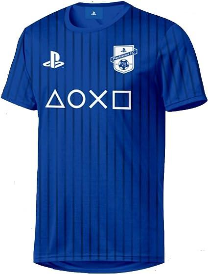 Sony Playstation - Símbolos Esports - Oficial para Hombre Camiseta de Fútbol - Azul, XS: Amazon.es: Ropa y accesorios