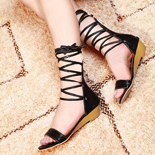 Mujeres Encanto Sandalias GLTER Verano De Femeninos Sandalias Abierto Zapatos black Tamaño Cuña Boot Sandalias Grande Toe HwxSqd0