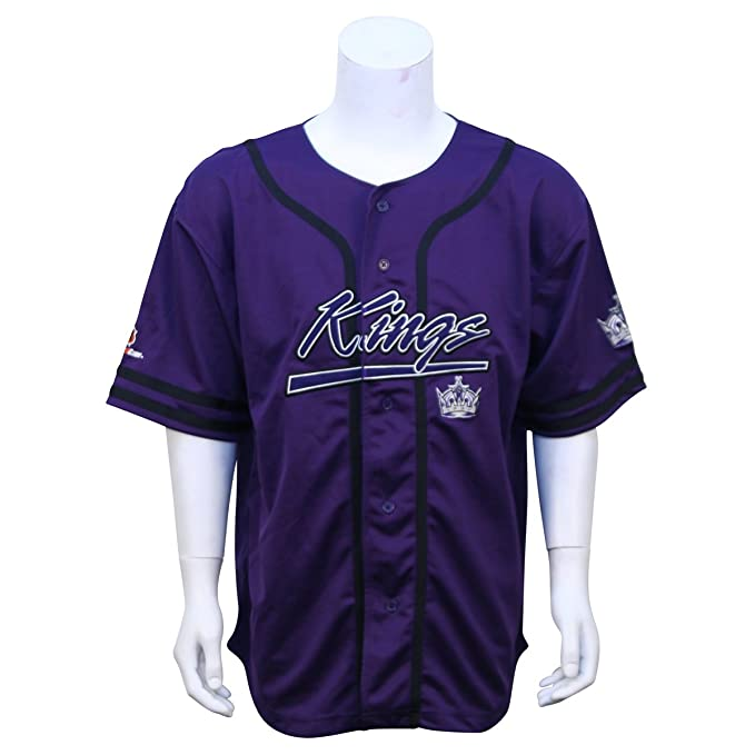 sneakers for cheap 2c4f4 74344 LA Kings Embroidered Baseball Jersey - Purple Large: Amazon ...