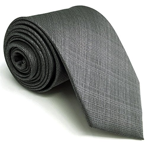 SHLAX&WING Solid Color Grey Mens Neckties Silk Ties Business Suit